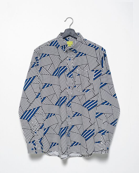 A product flat of a white and blue casual button down long sleeve shirt with an all over stripe print
