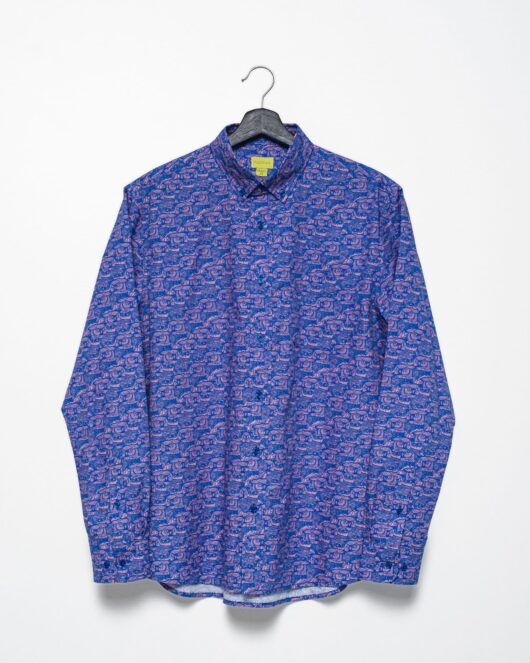 A product flat of a blue and pink casual button down long sleeve shirt with an all over owl print